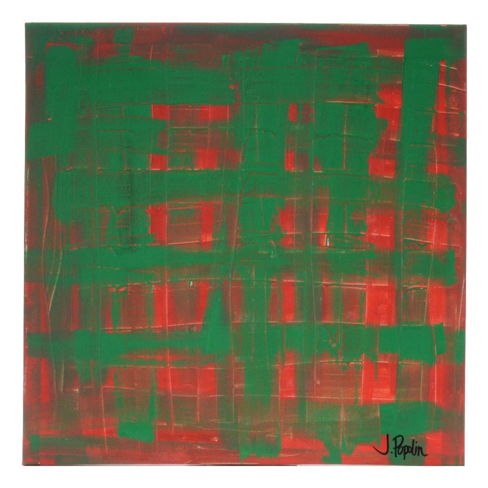 "J. Popolin Abstract Acrylic Painting ""Christmas Plaid"""