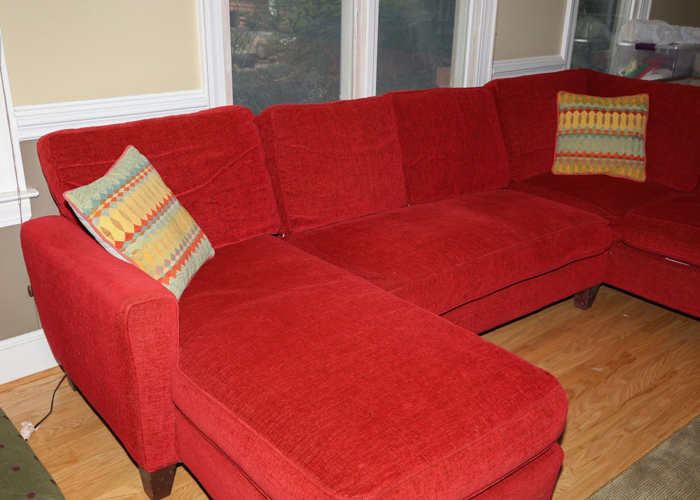 Red Upholstered Sectional Sofa By Storehouse Furniture Ebth