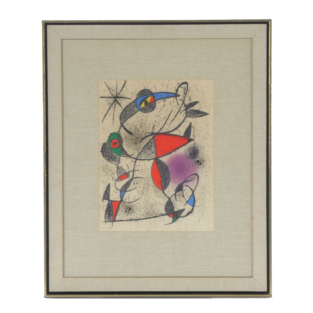 "Joan Miro Limited Edition Lithograph  from ""Souvenirs et Portraits d'Artistes"""