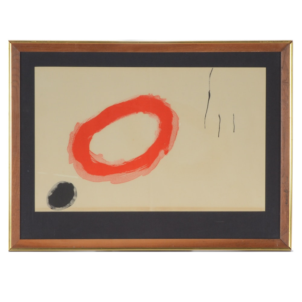 "Joan Miro Lithograph ""Red"" from Derriere le Miroir"