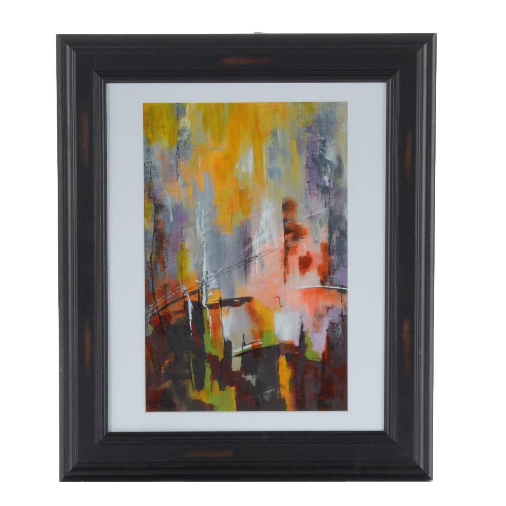 "Sanna Original Acrylic Painting ""Downtown Light"""