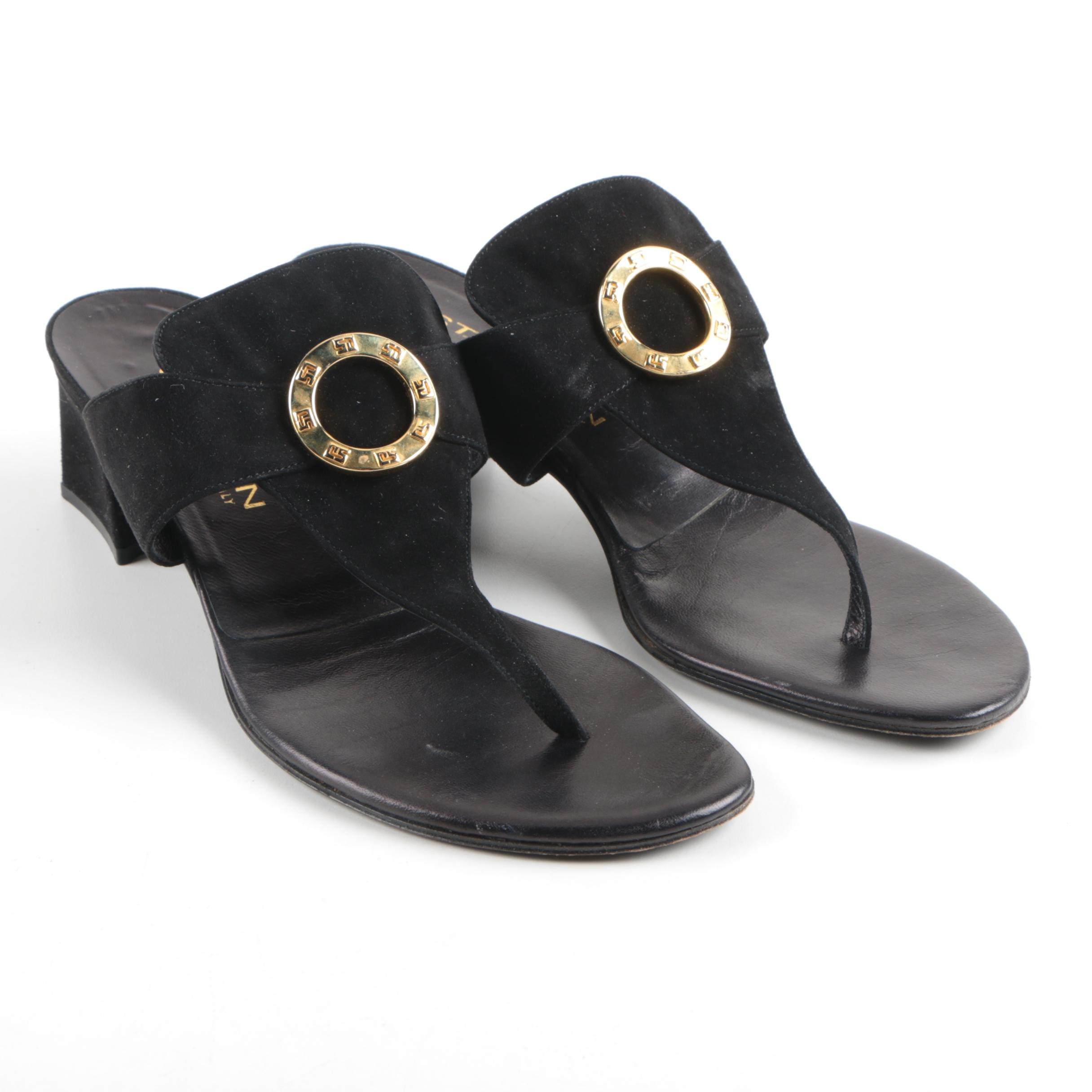 St. John Heeled Black Suede Sandals