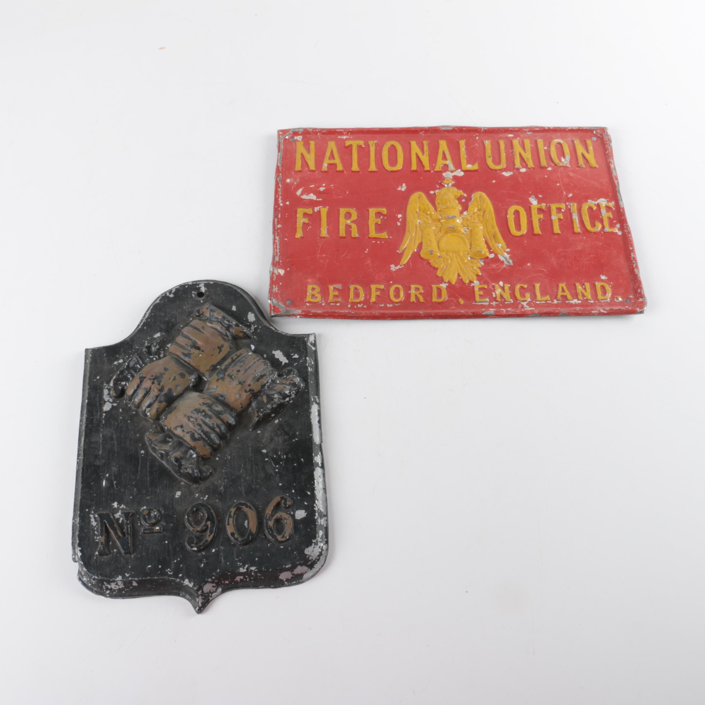 Cast Iron Firemark from the National Union Fire Office, Bedford, England