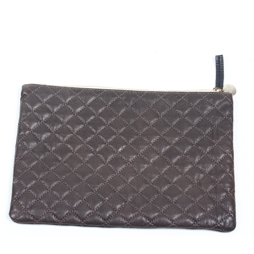 Clare V. of Los Angeles Quilted Brown Leather Clutch