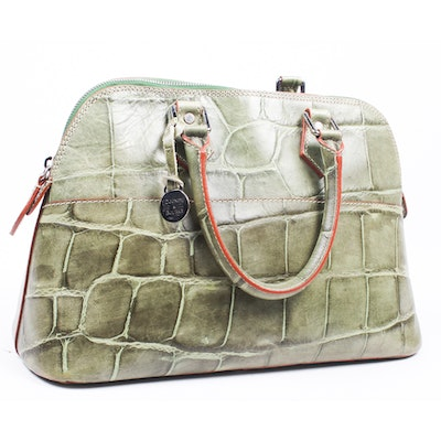 Dooney   Bourke Crocodile Embossed Green Leather Satchel 40cc79276b543