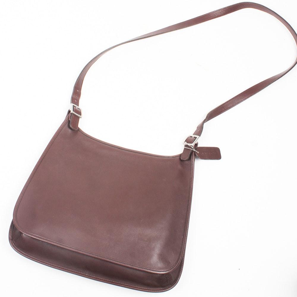 Coach Brown Leather Flap Top Messenger Crossbody Handbag