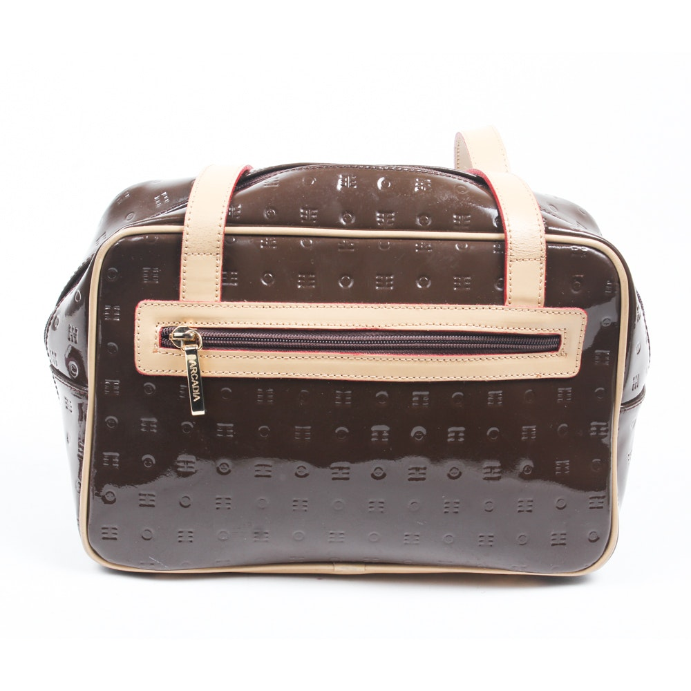Arcadia Brown Patent Leather Shoulder Bag