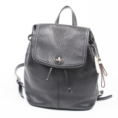 Coach Park Black Pebbled Leather Backpack cd766daf22364