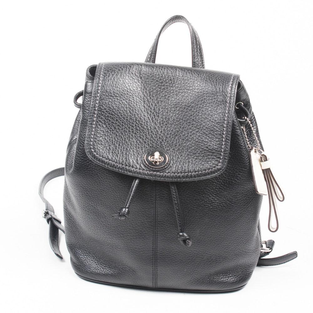 Coach Park Black Pebbled Leather Backpack