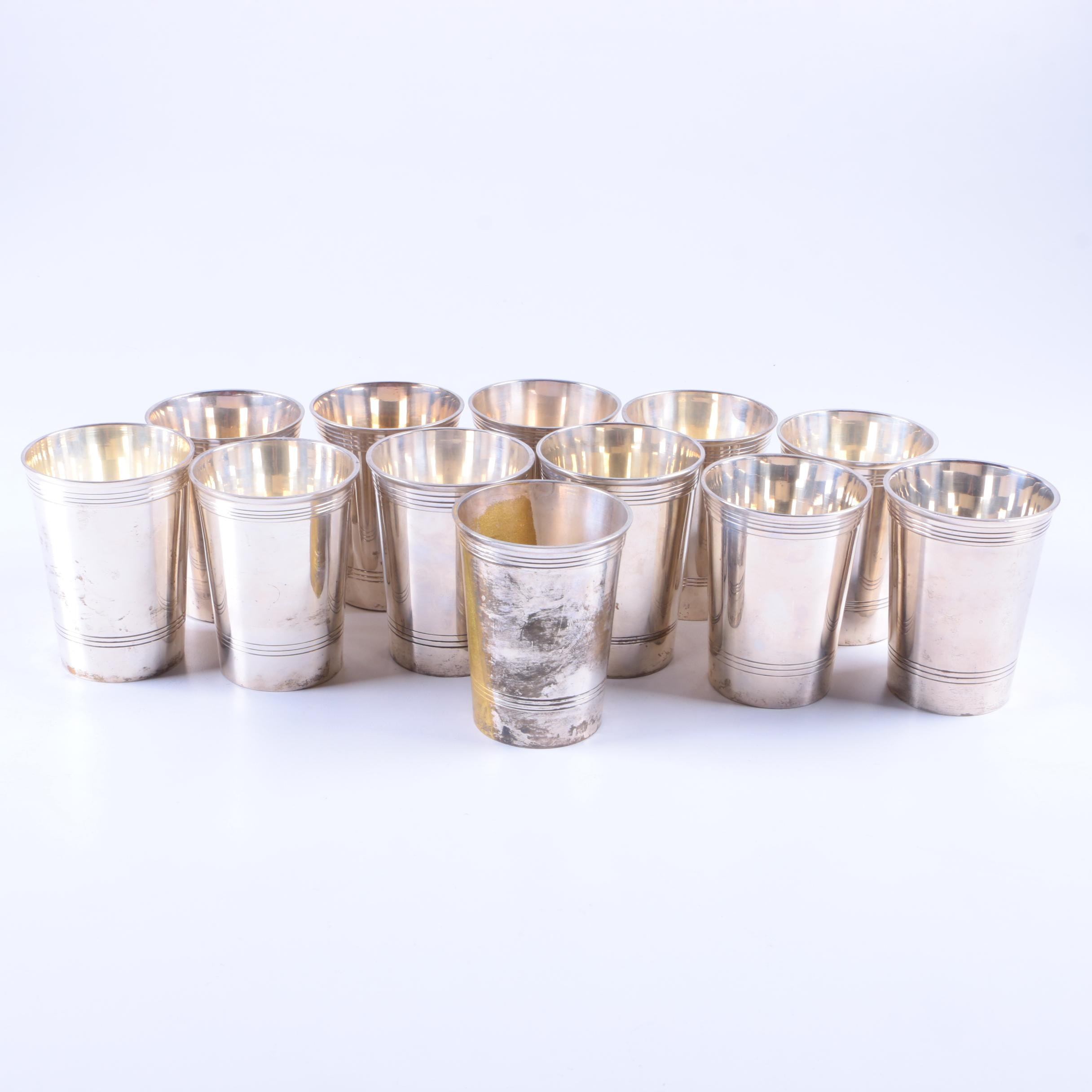 Set of Silver Plate Julep Cups Made in India