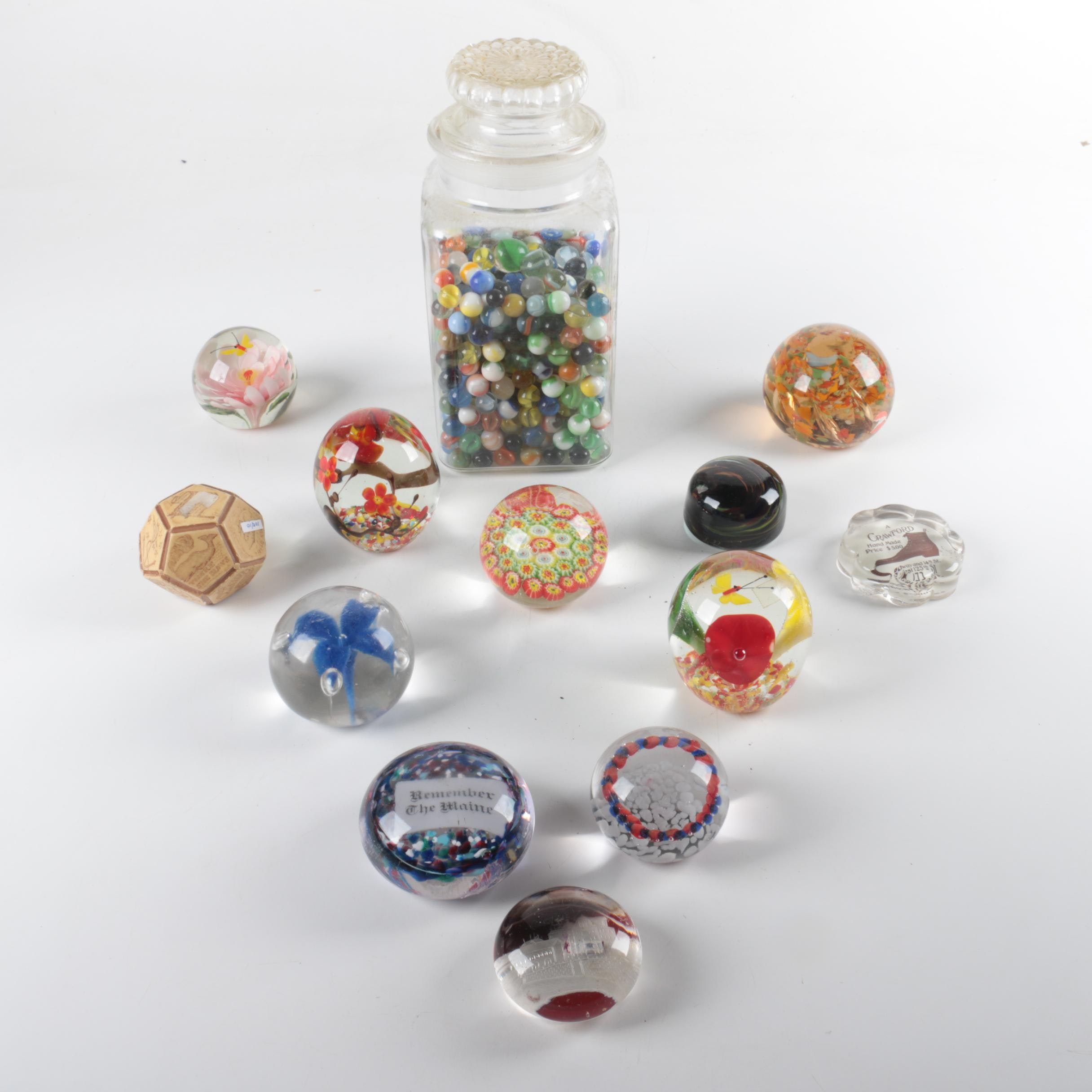 Marble Collection with Art Glass Paperweights