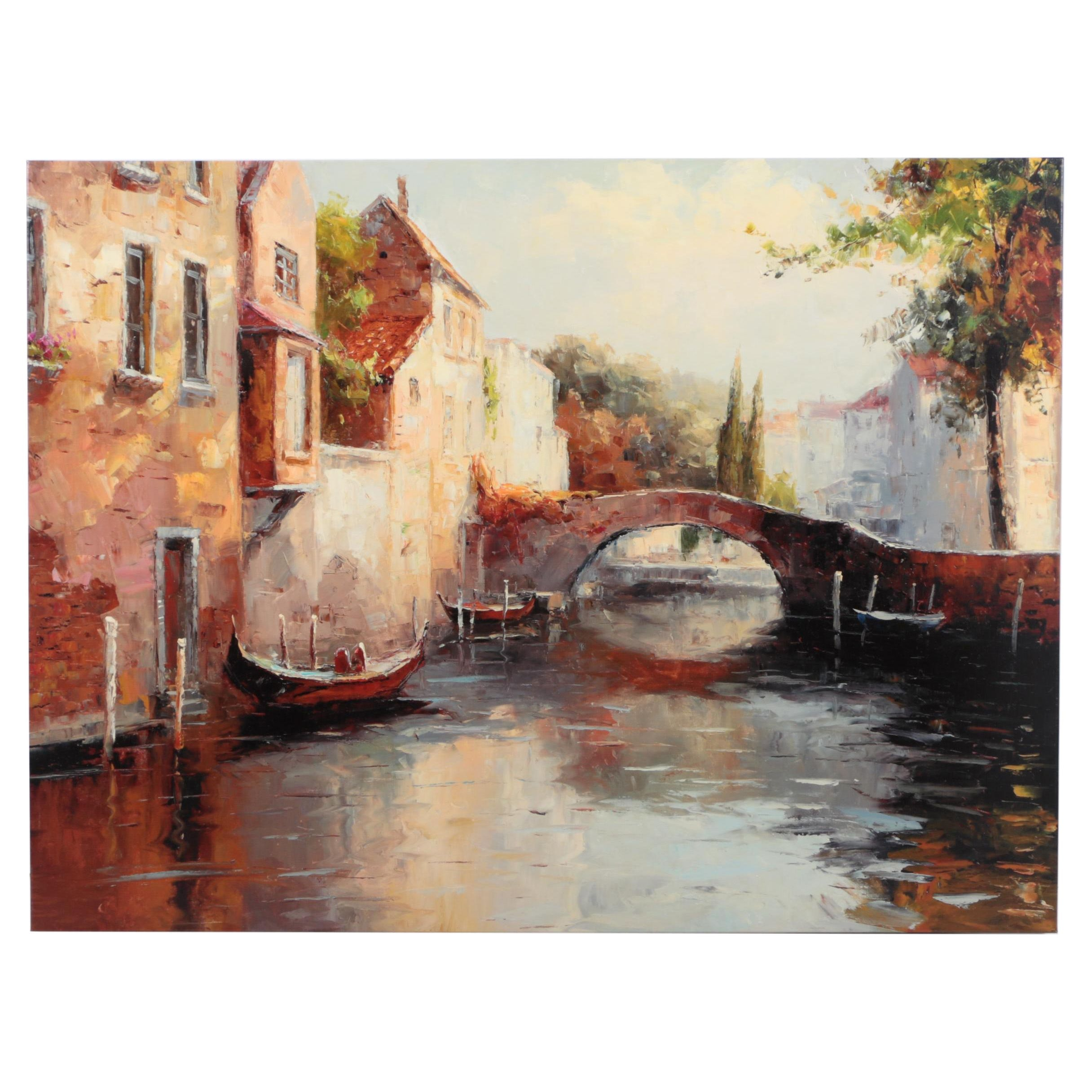 Giclee on Canvas Canal Scene