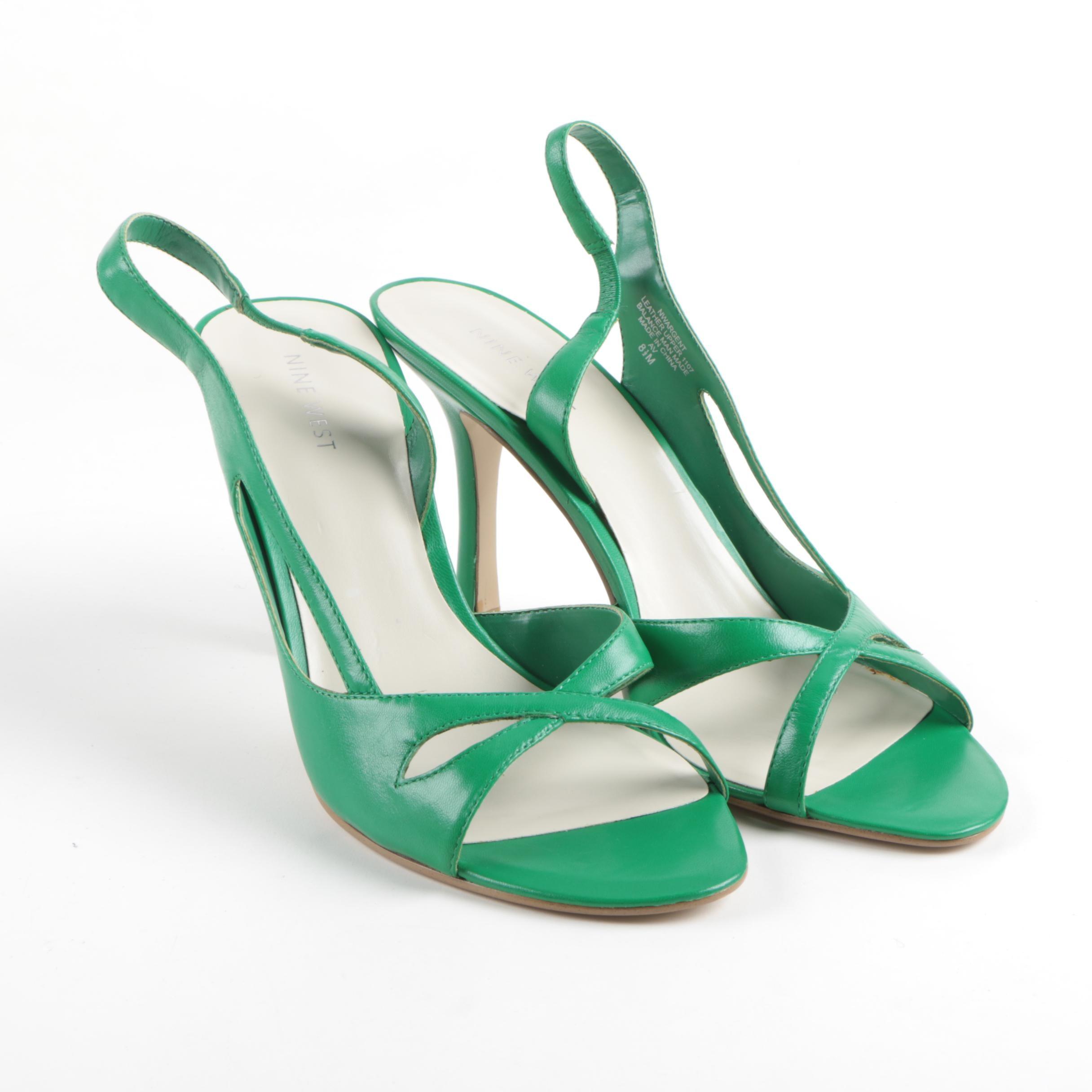 Nine West Green Leather Slingback Heeled Sandals