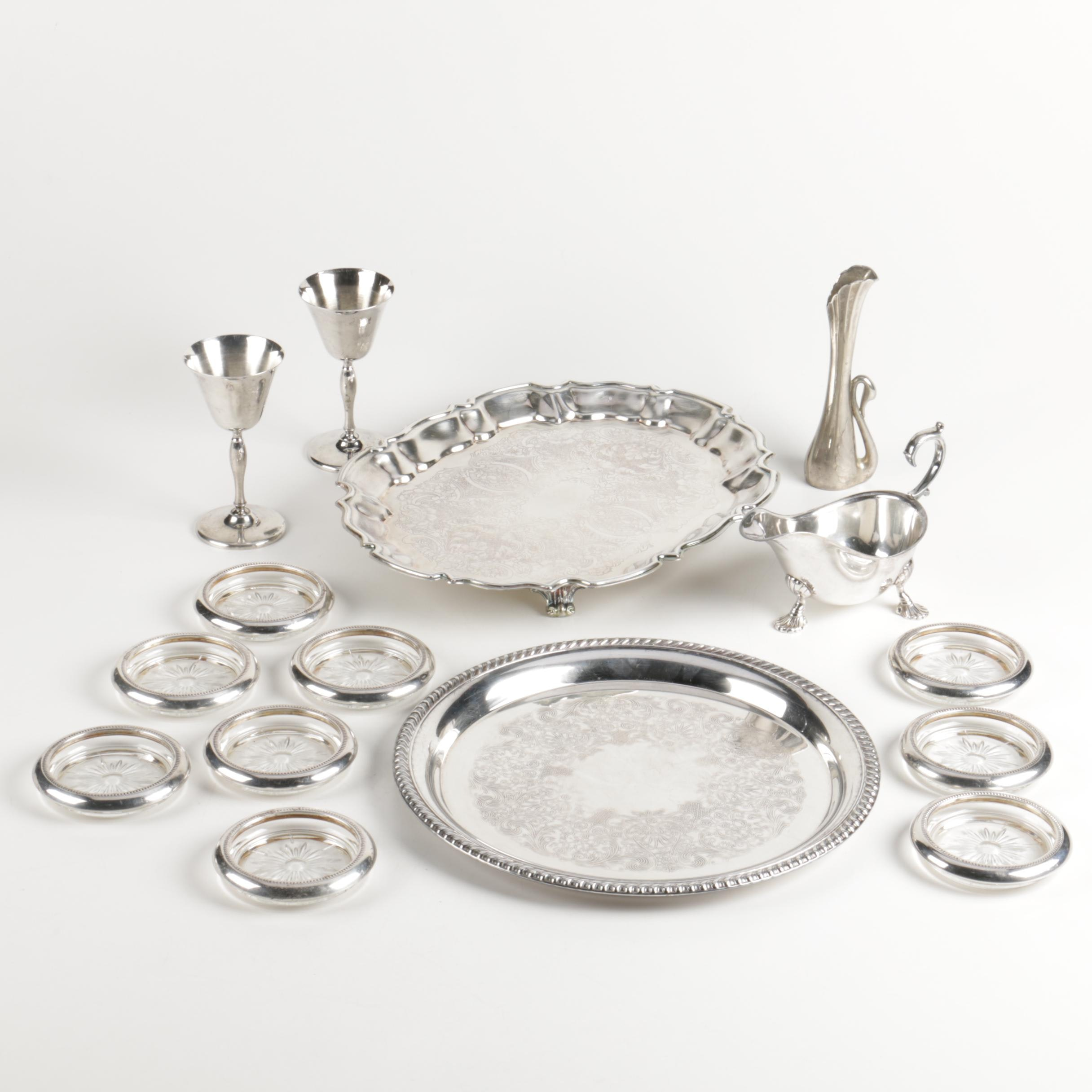 Leonard Bath Rim Tray with Other Silver Plate Coasters and Tableware
