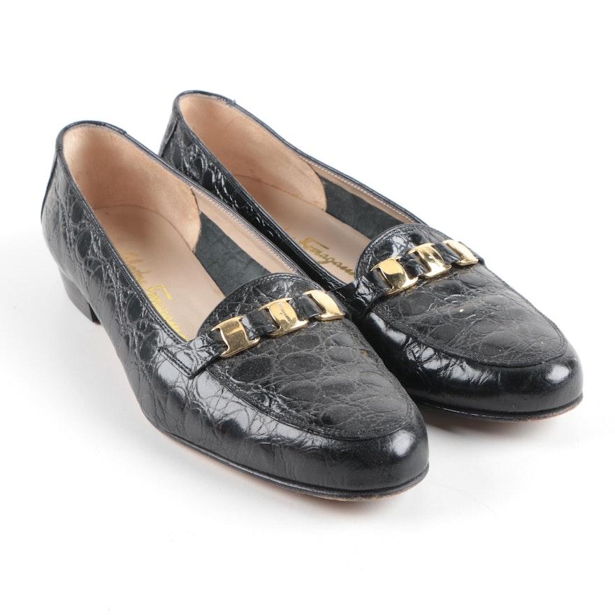 f186494be06 Salvatore Ferragamo Crocodile Embossed Black Leather Loafers   EBTH
