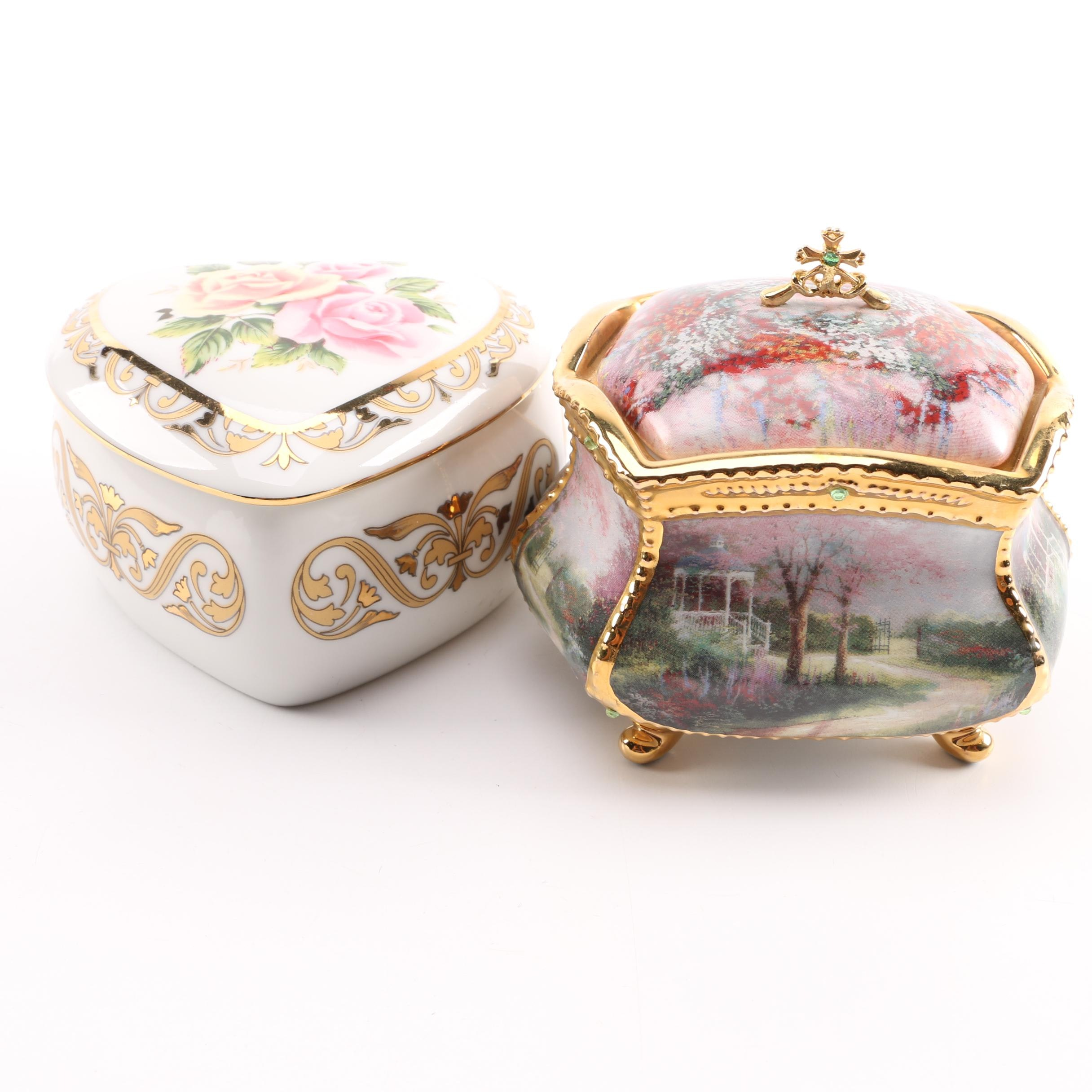 Pair of Porcelain Musical Trinket Boxes