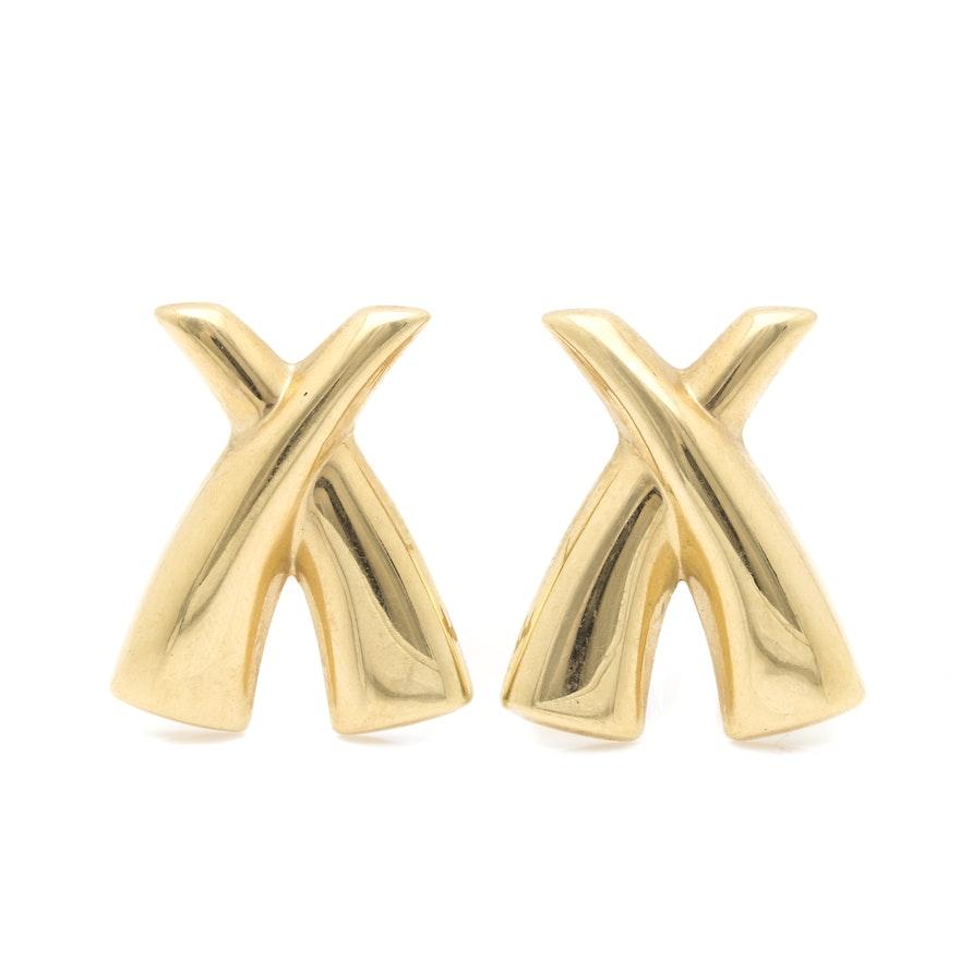 14k Yellow Gold X Earrings