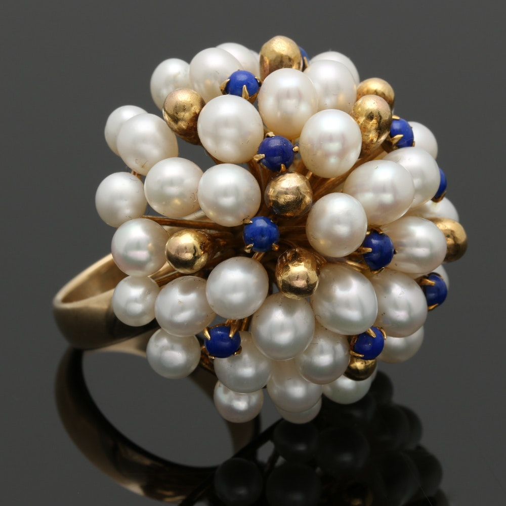 10K Yellow Gold Pearl and Lapis Lazuli Cocktail Ring