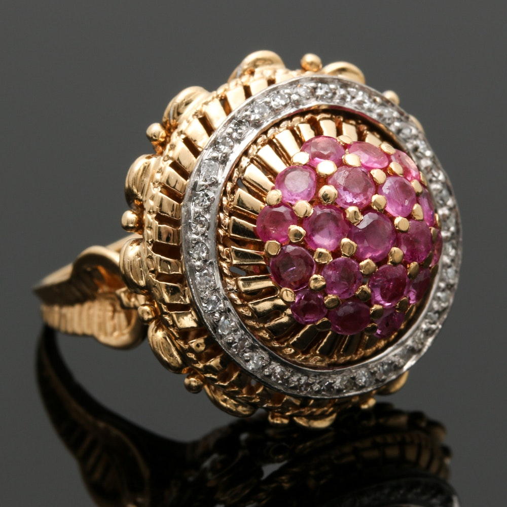 18K Two Tone Gold Ruby and Diamond Ring