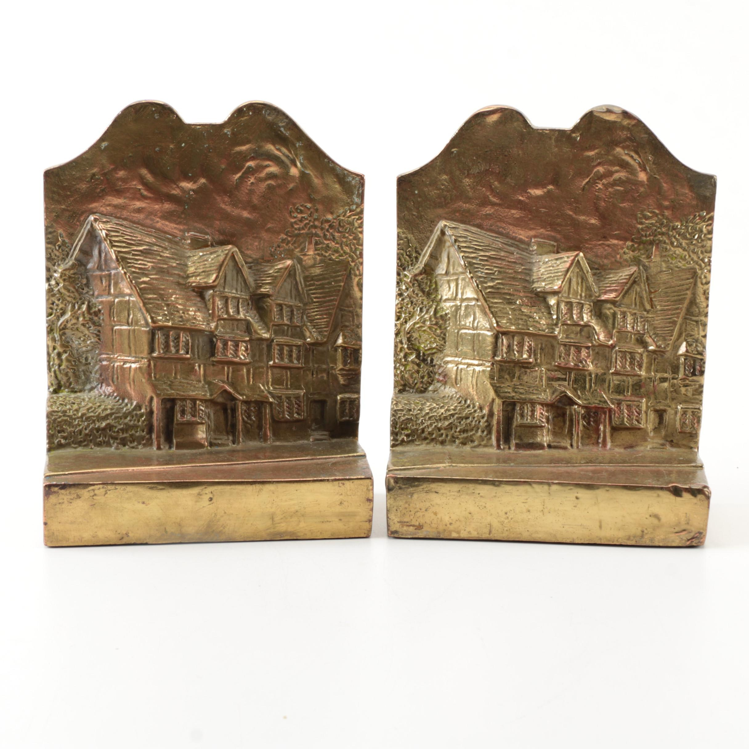 Brass House Embossed Bookends