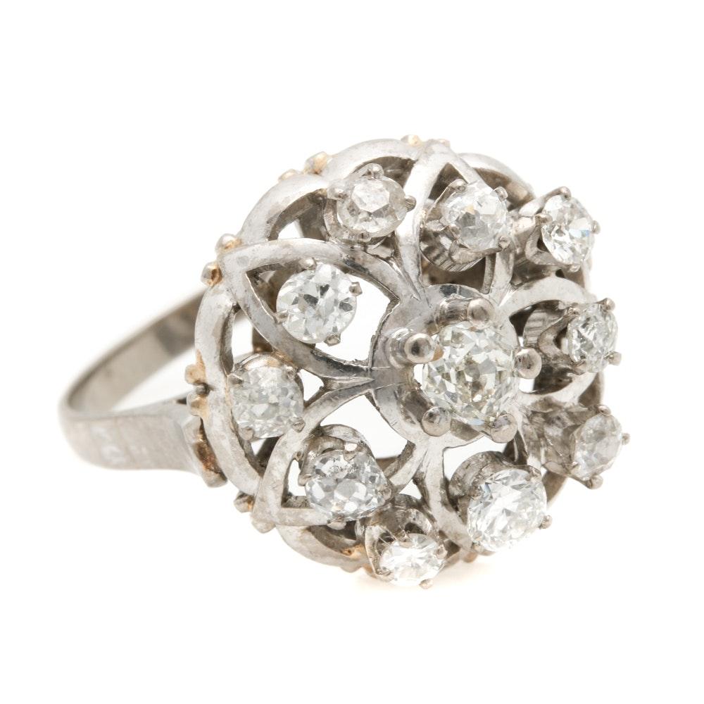 14K White Gold 1.09 CTW Diamond Dome Ring