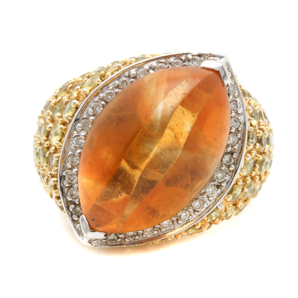14K Two Tone Citrine, Sapphire and Diamond Cocktail Ring