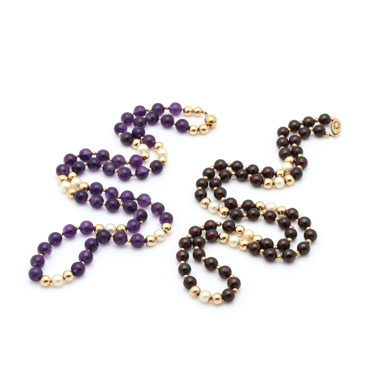 14K Yellow Garnet and Amethyst Necklaces with Cultured Pearls