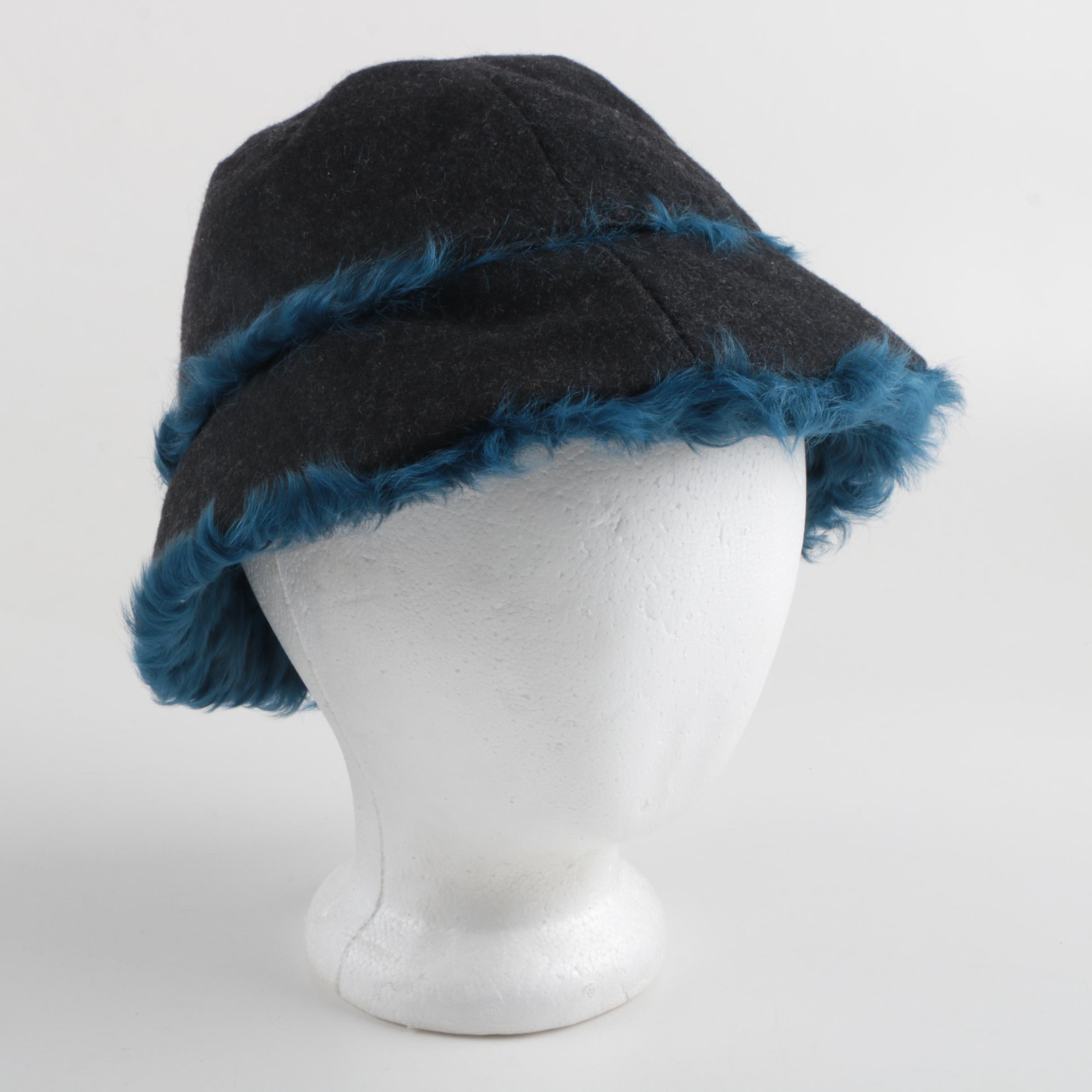 Dolce&Gabbana Grey Felt and Blue Dyed Shearling Bucket Hat