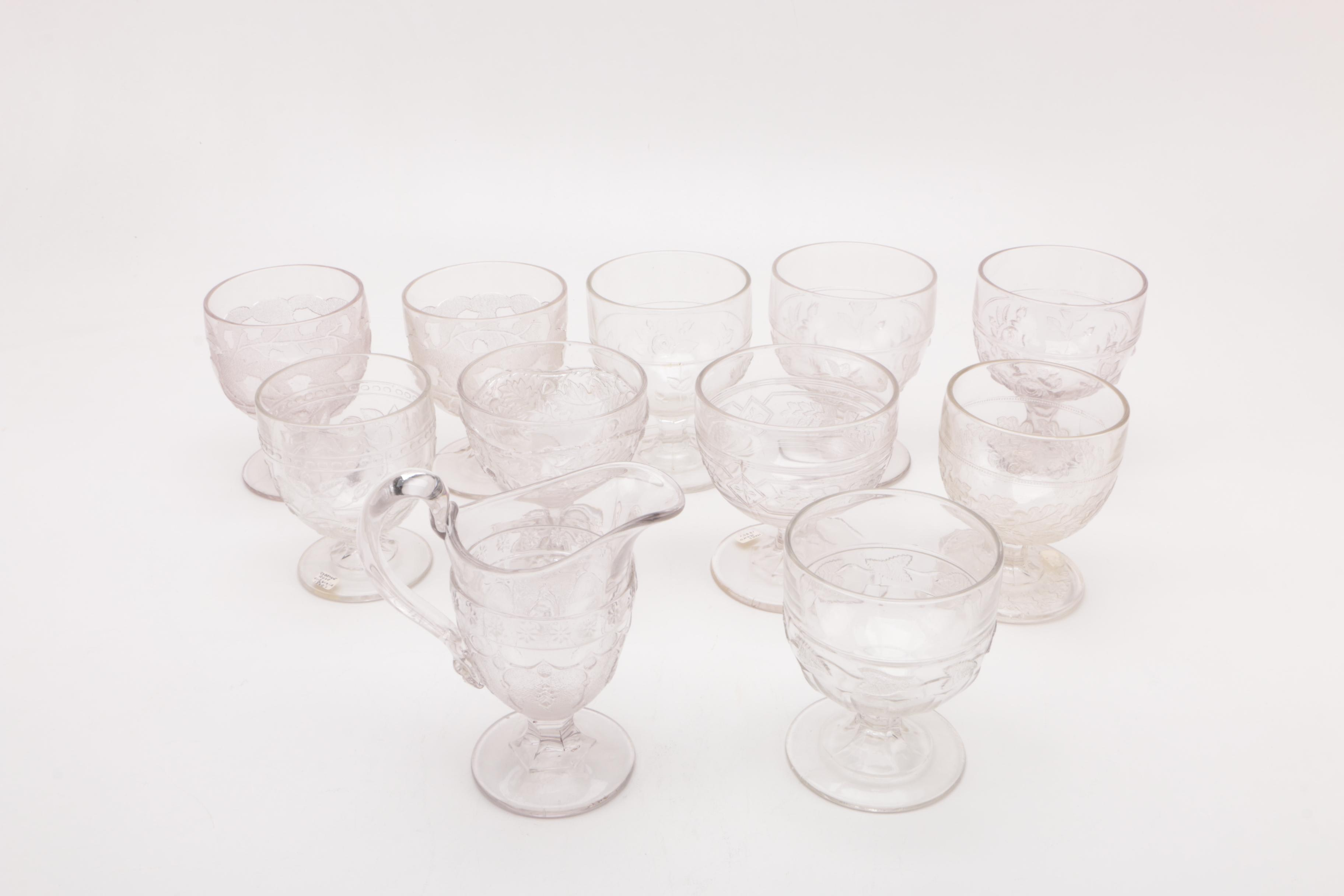 Openwork Wine Glasses and Footed Creamer