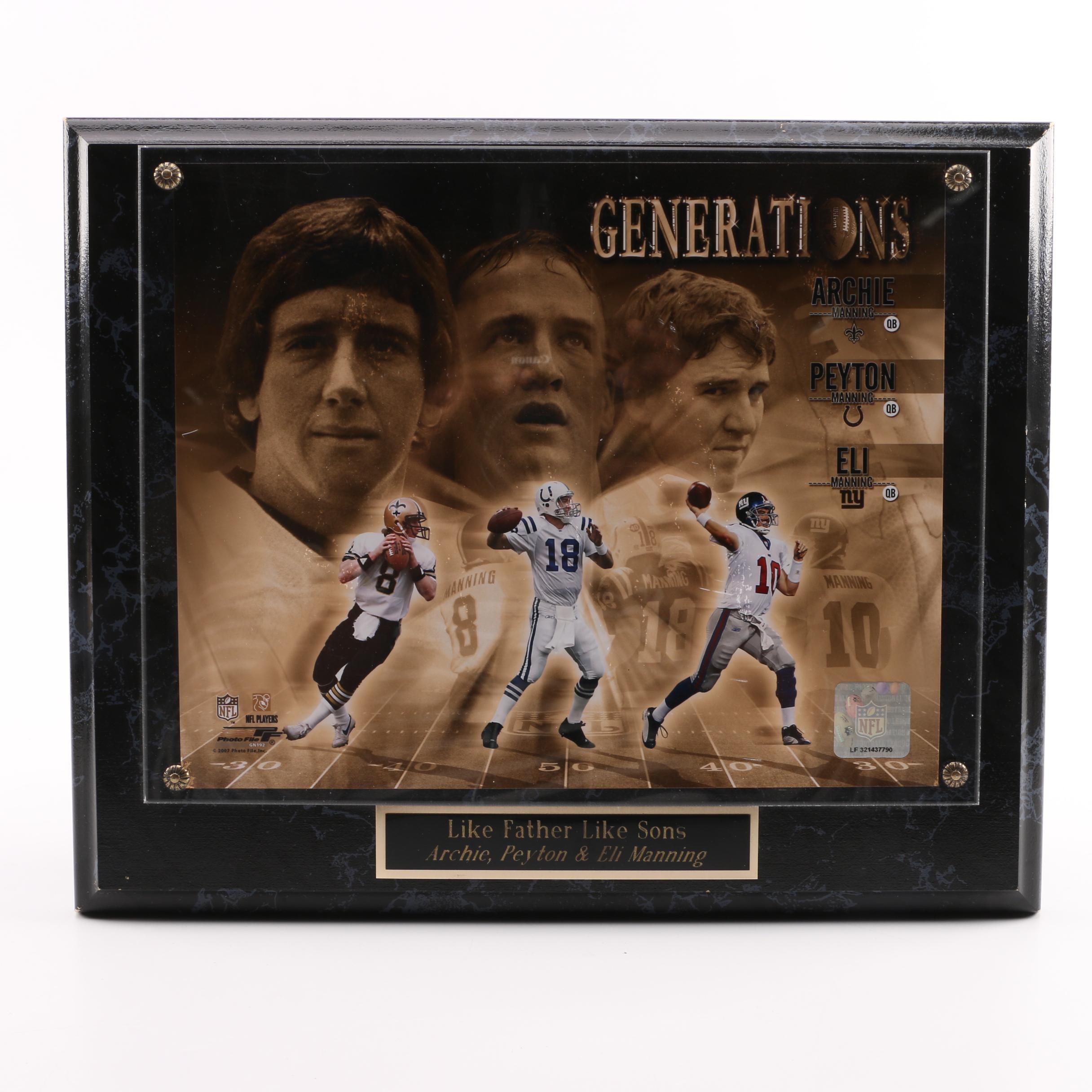 "Manning ""Generations"" Football Plaque"