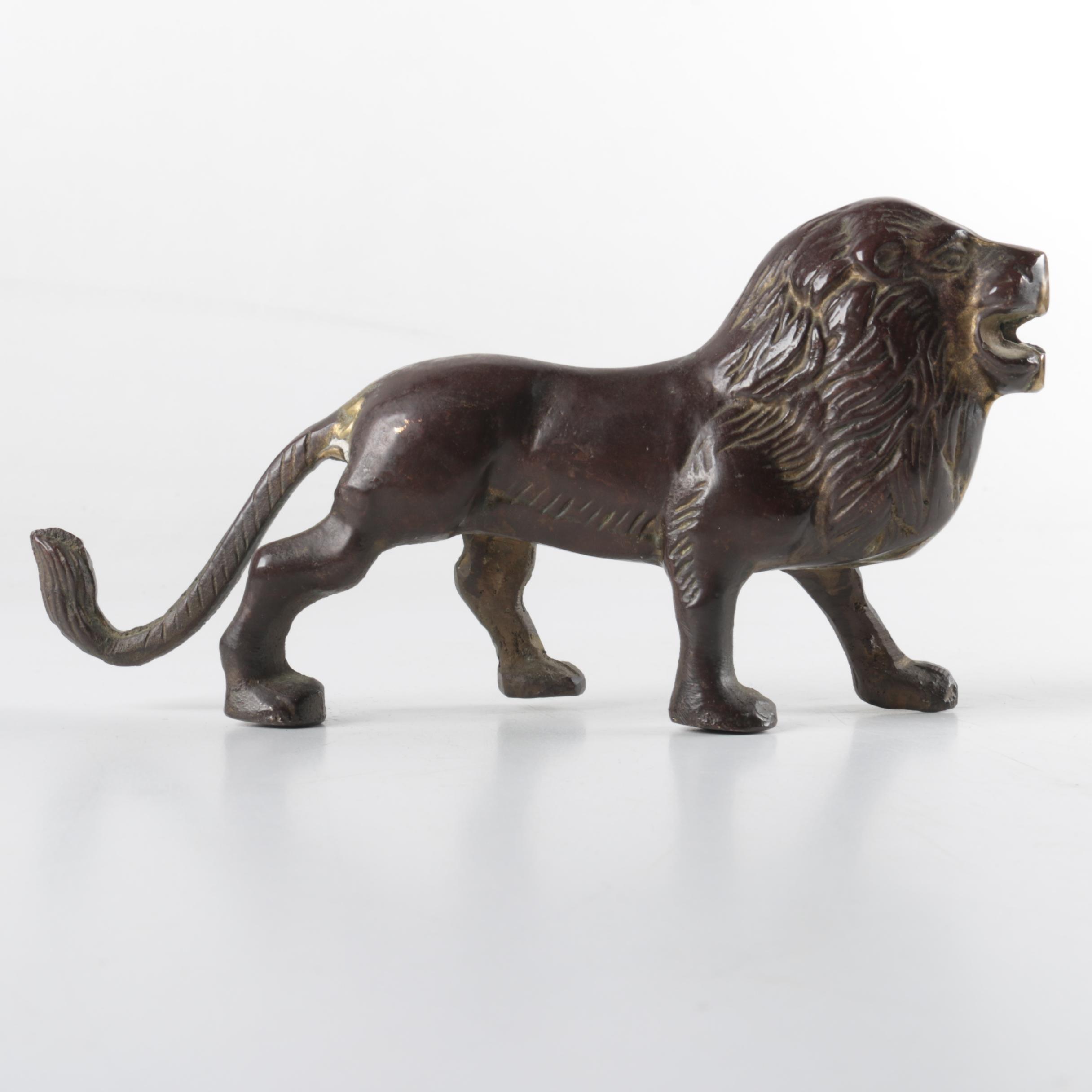 Ornate Brass Lion Figurine