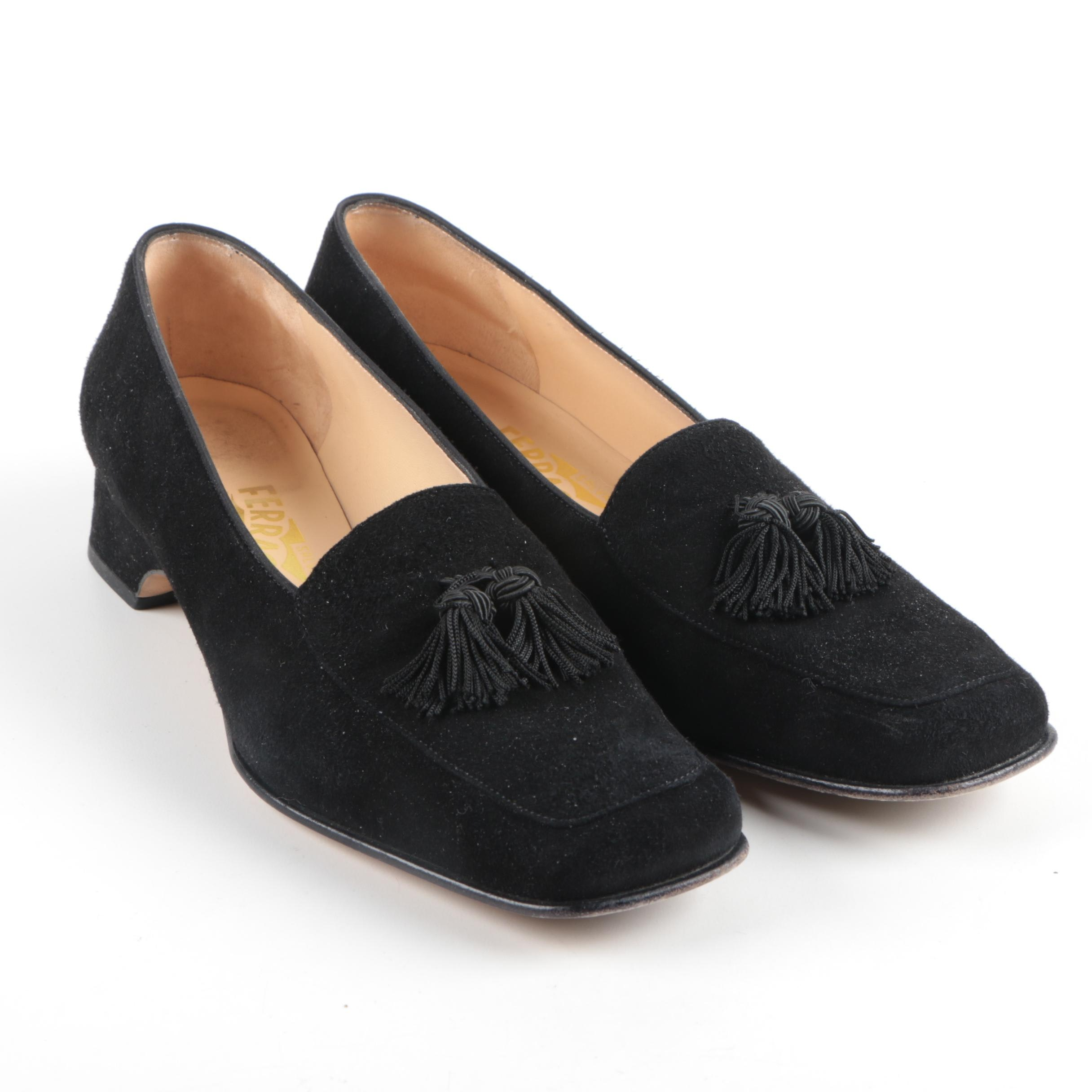 Salvatore Ferragamo Black Suede Loafers with Tassels
