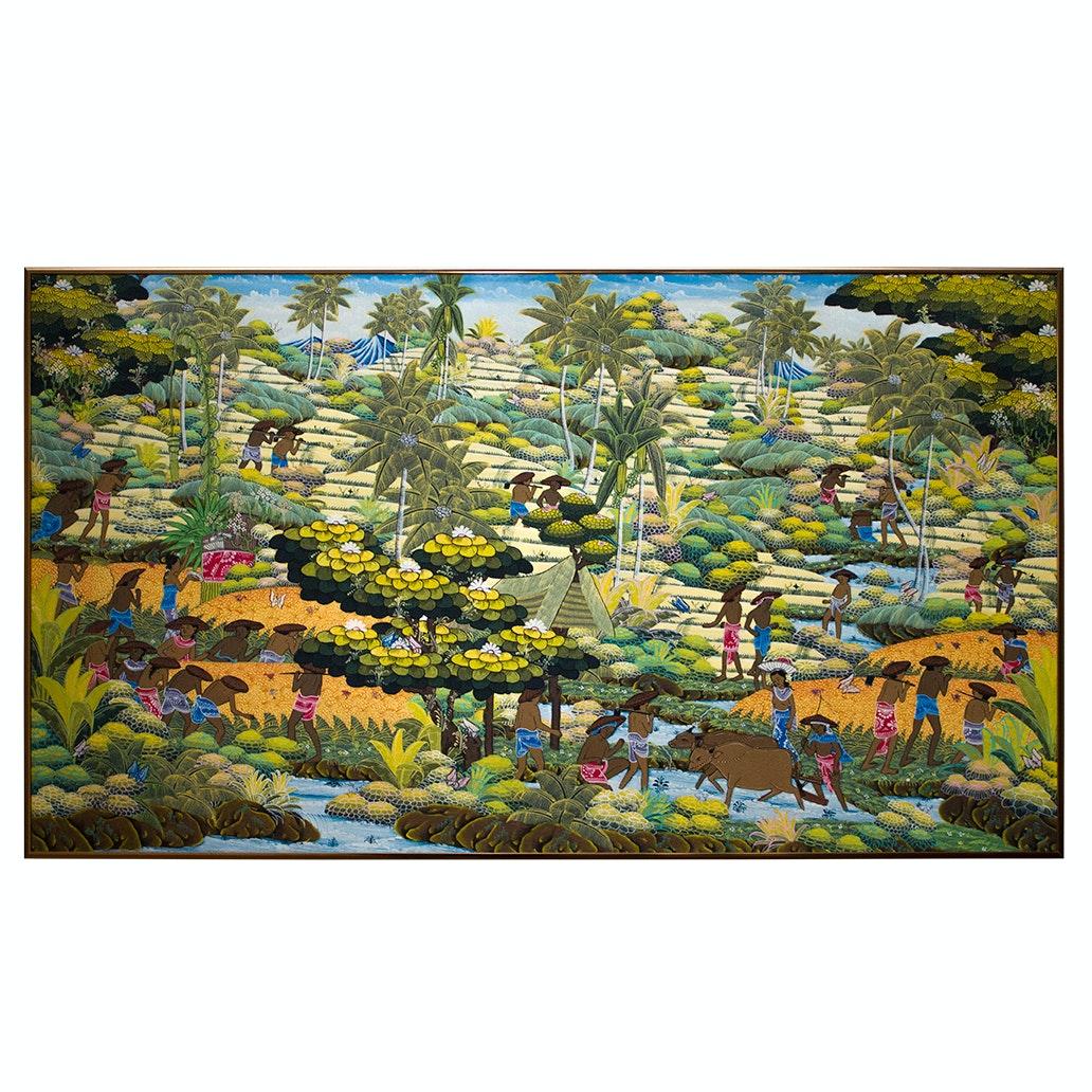 Balianese Gouache Painting on Linen