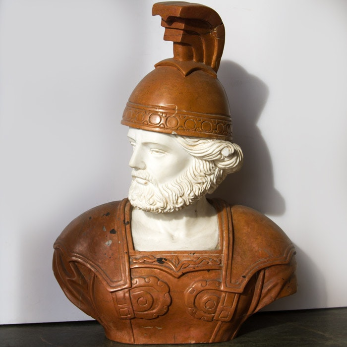 Attributed as Marble Bust of Roman Style Soldier
