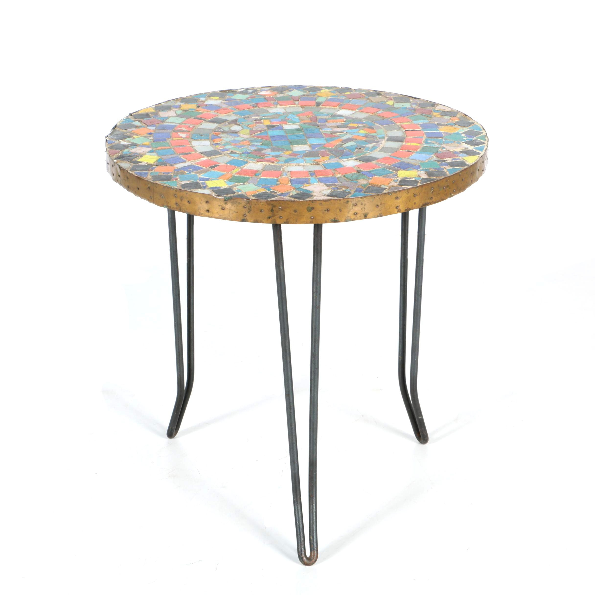 Leona Volpe Style Mid Century Modern Mosiac Tiled Table