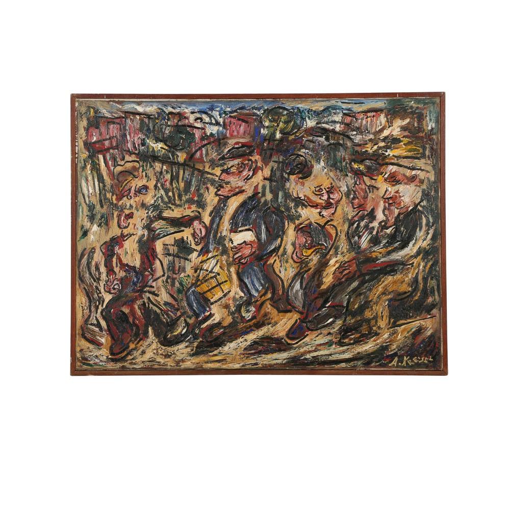 Alexander Kreisel Oil Painting on Canvas Abstracted Figurative Scene