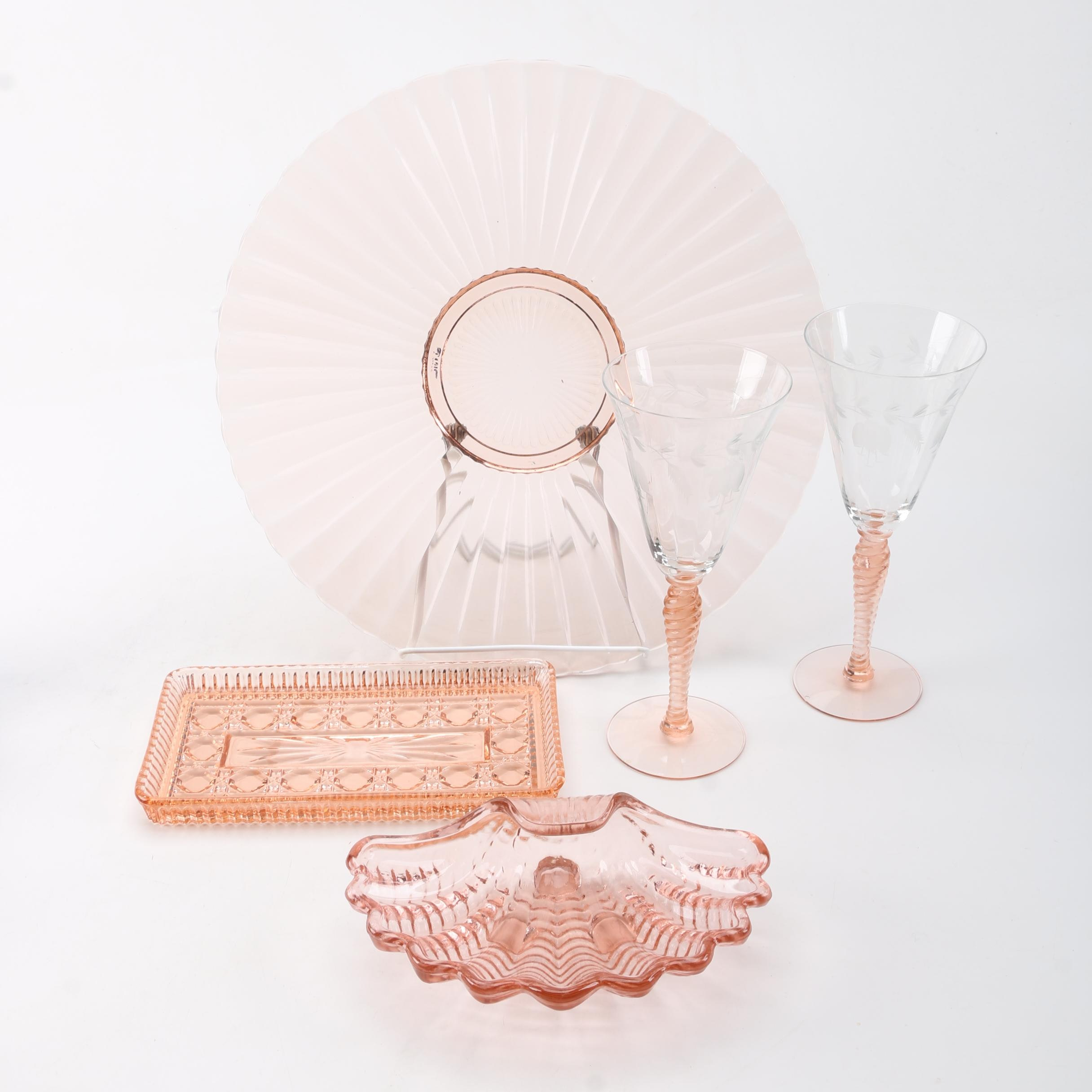 Pink Pressed Glass Tableware