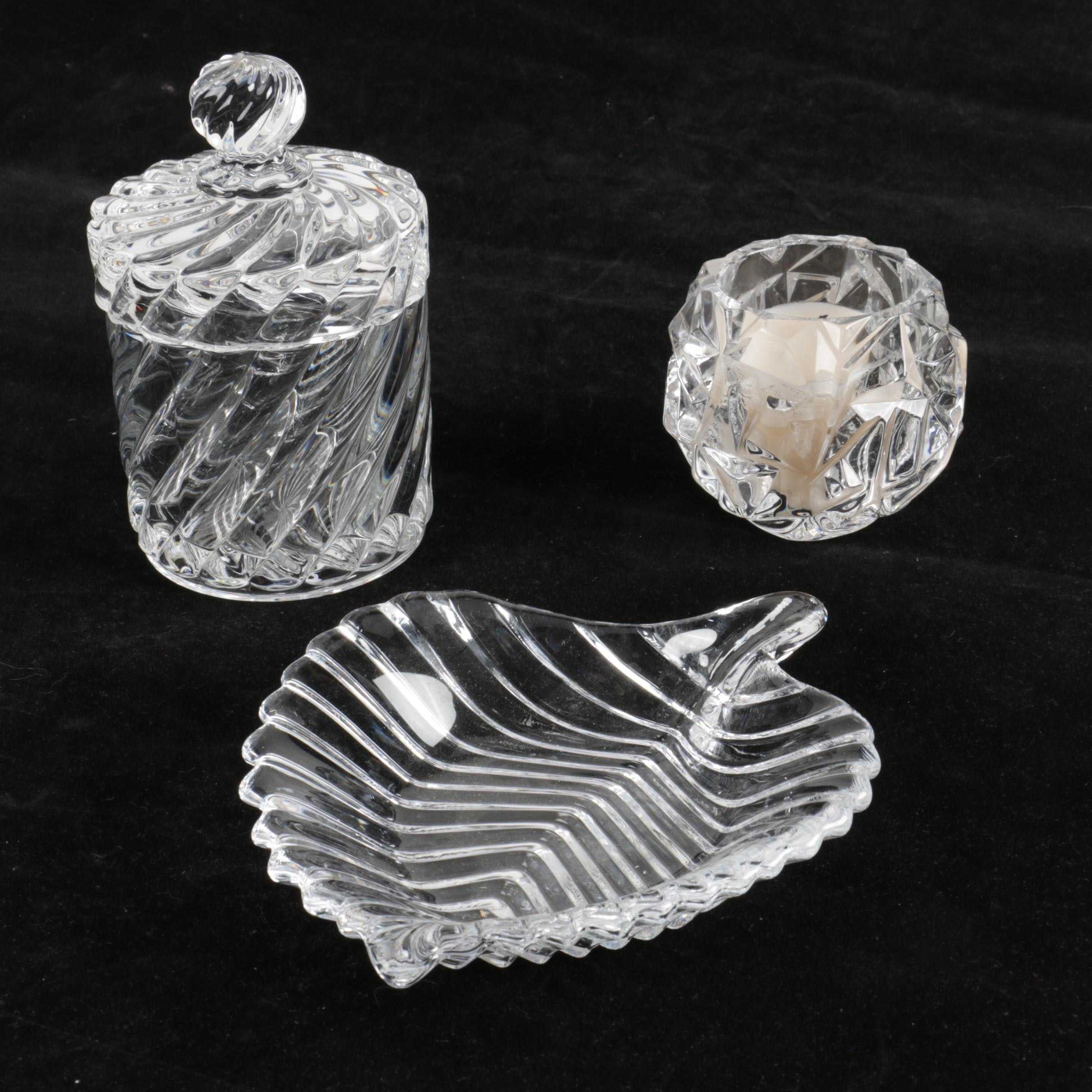 """Baccarat """"Swirl Clear"""" Crystal Cigarette Jar and Tiffany& Co Votive"""
