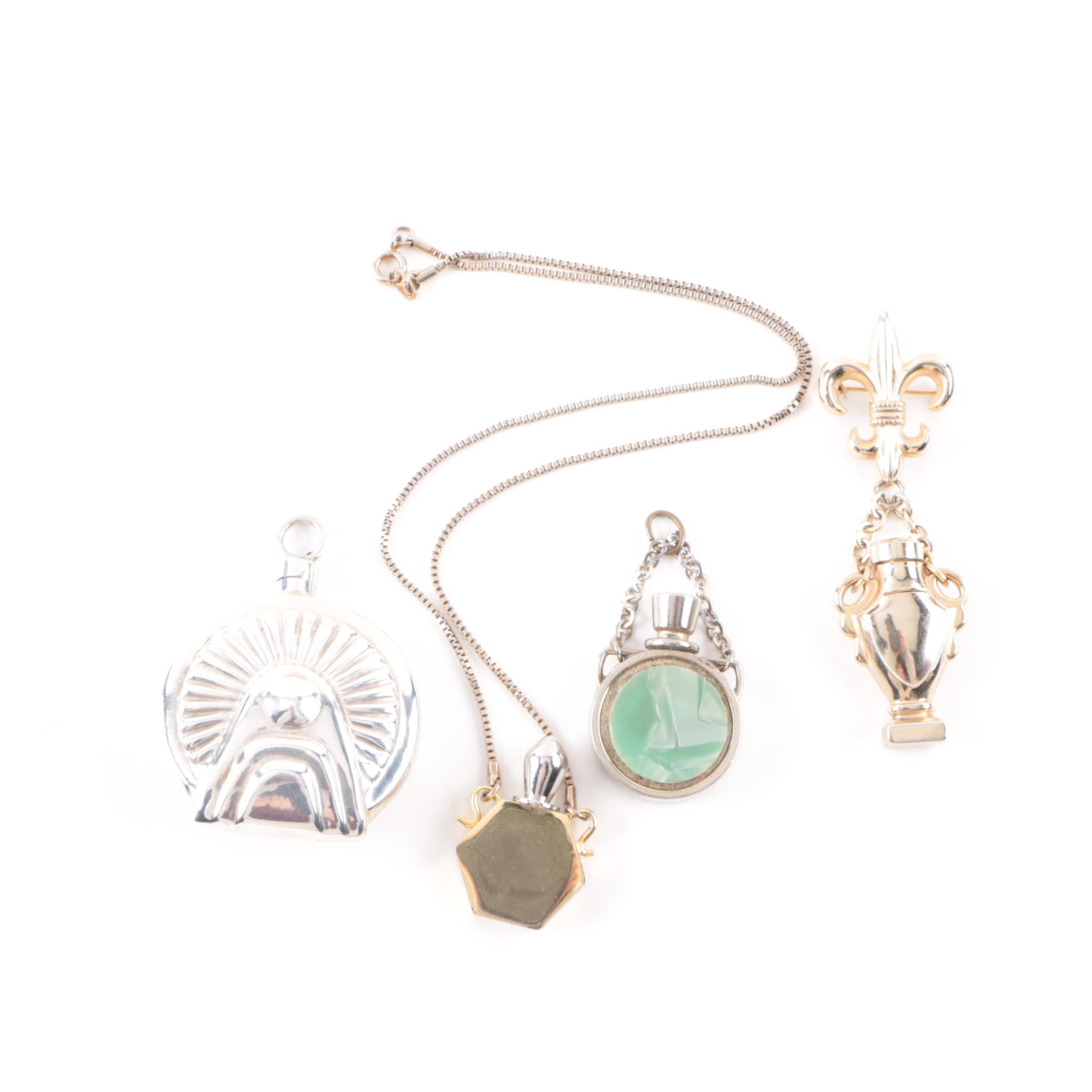 Vintage Perfume Bottle Jewelry Including Sterling Silver