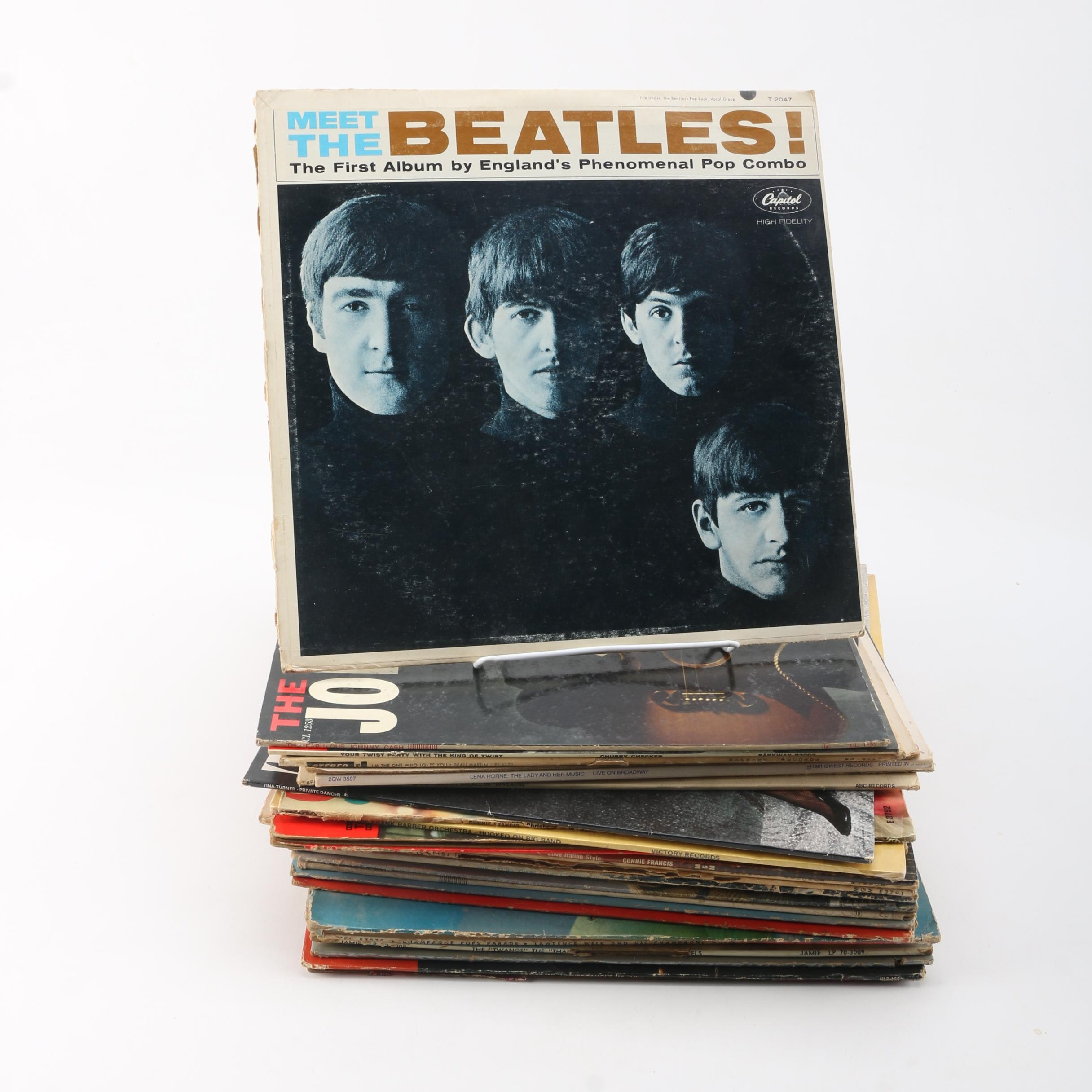 LPs Including The Beatles, Dean Martin, Chubby Checker, and Johnny Cash