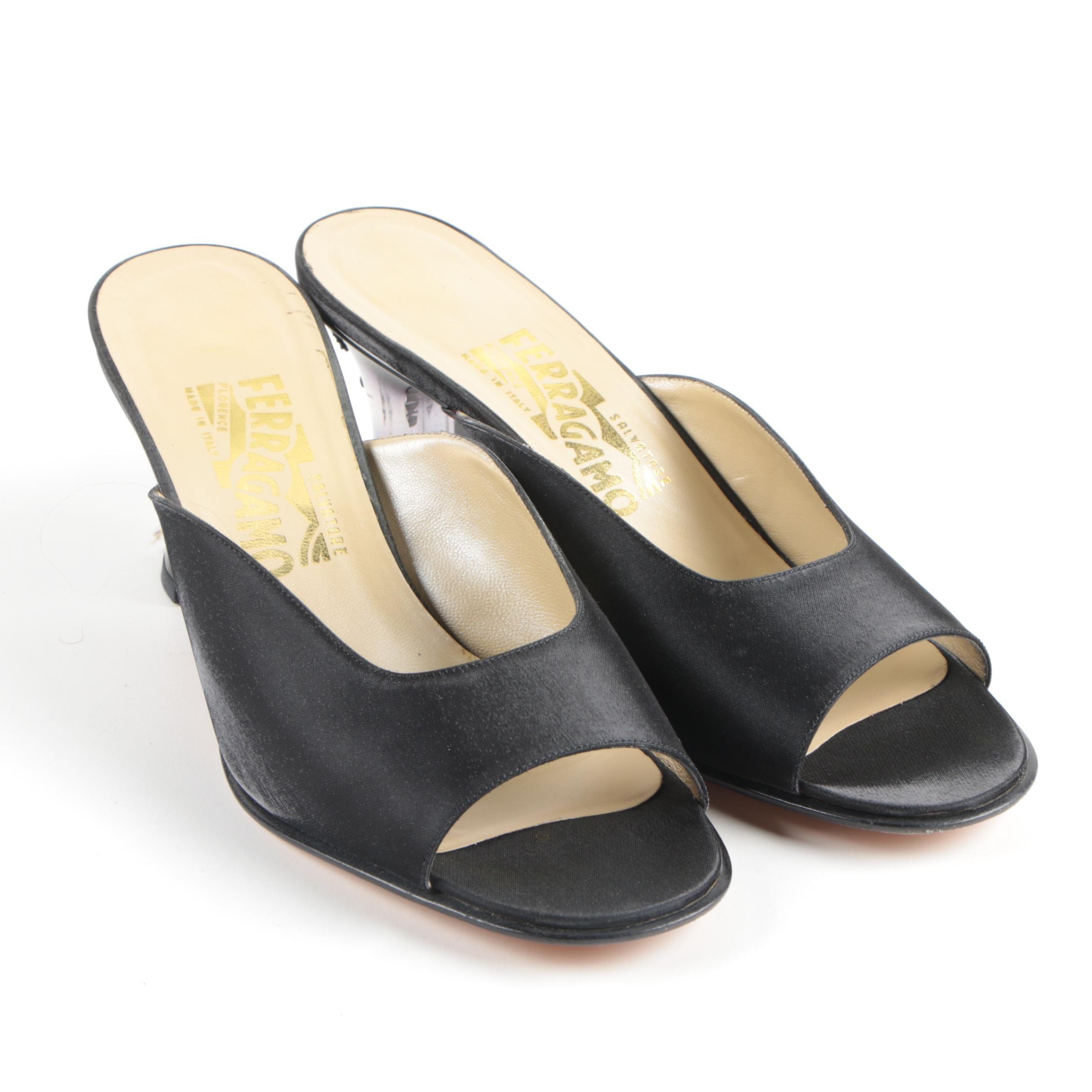 Salvatore Ferragamo Open Toe Black Slide Heels