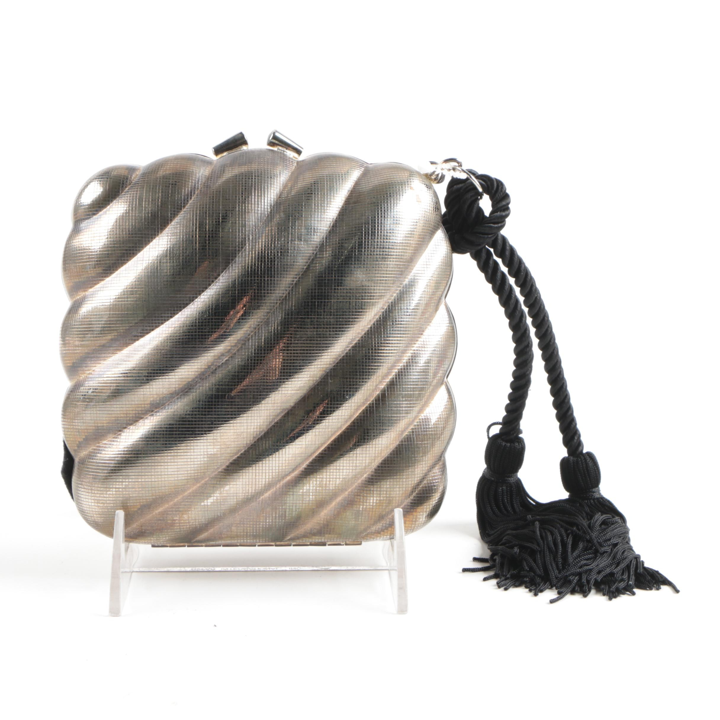 Metallic Evening Clutch with Tassel Accent