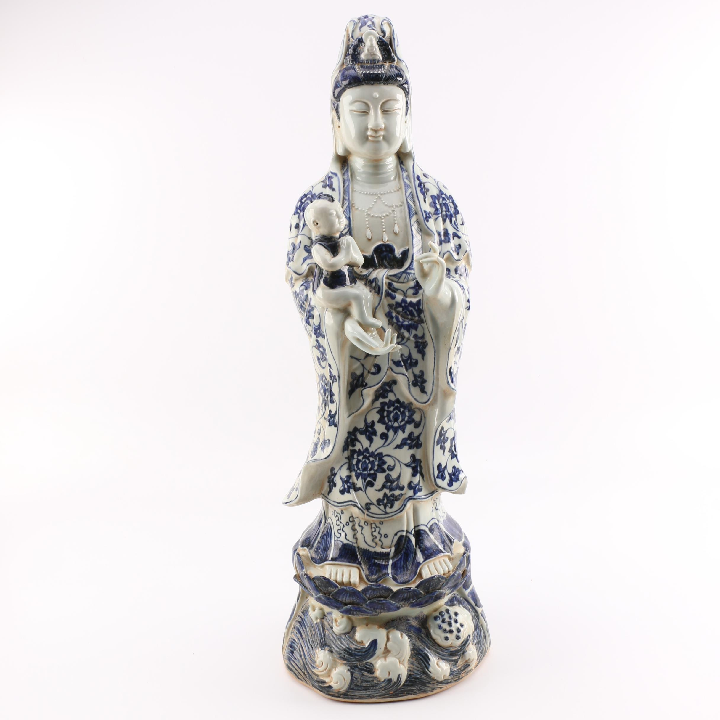 Guanyin and Child Ceramic Statuette