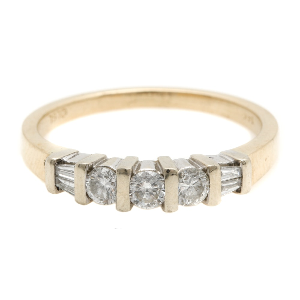 14K Yellow and White Gold Diamond Ring Band