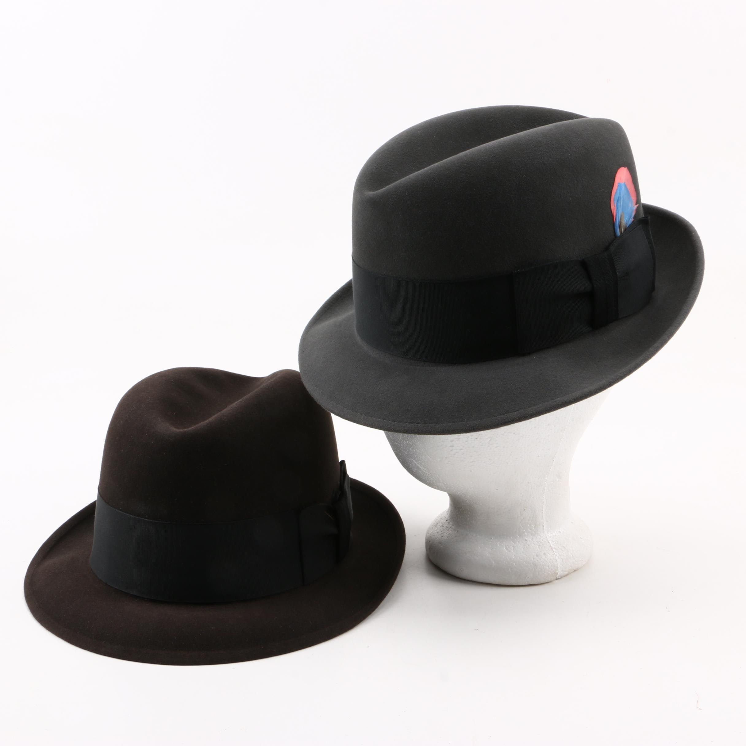 Vintage Dobbs Fedora Hats with Hat Boxes