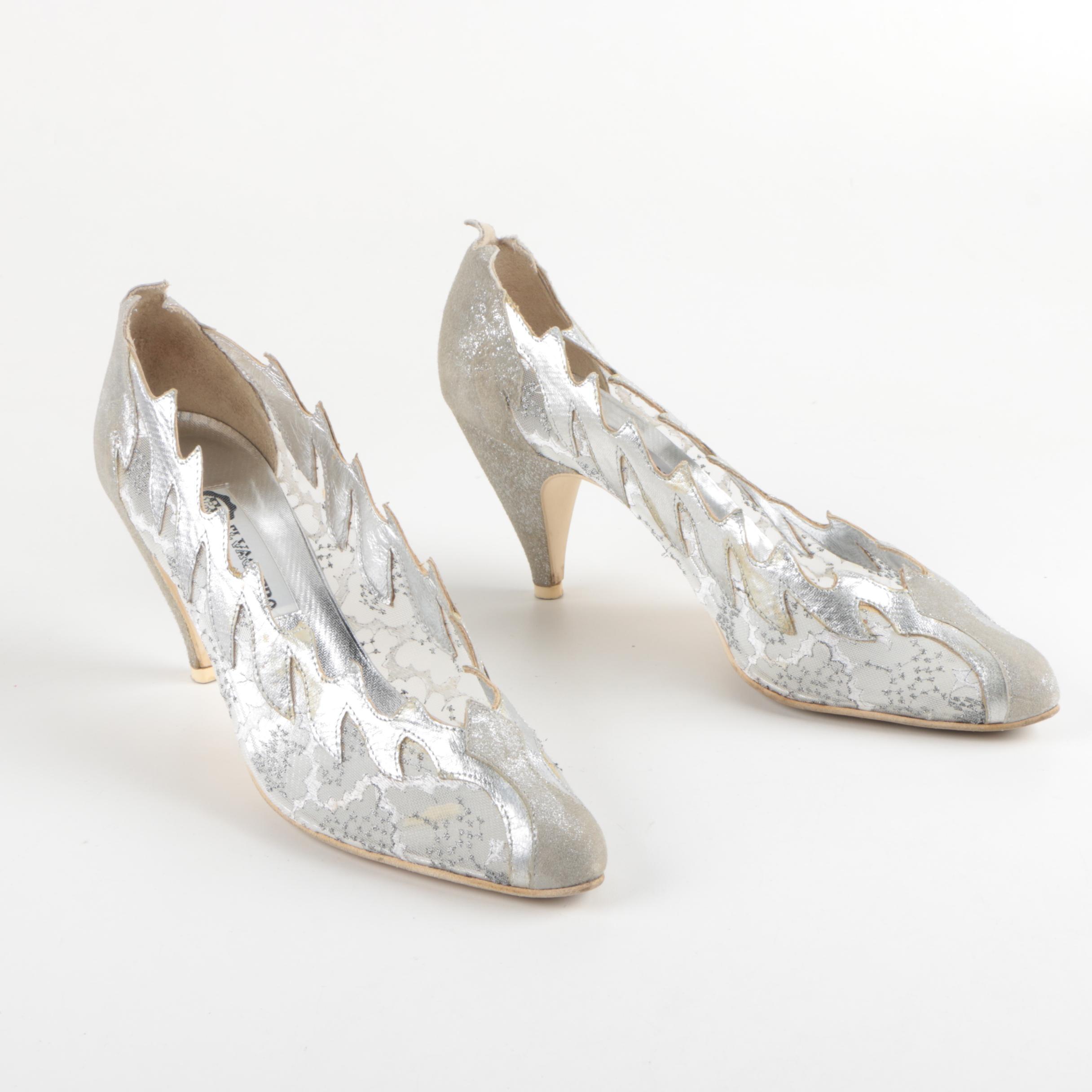 Vintage El Vaquero Silver Tone Leather and Mesh Heels