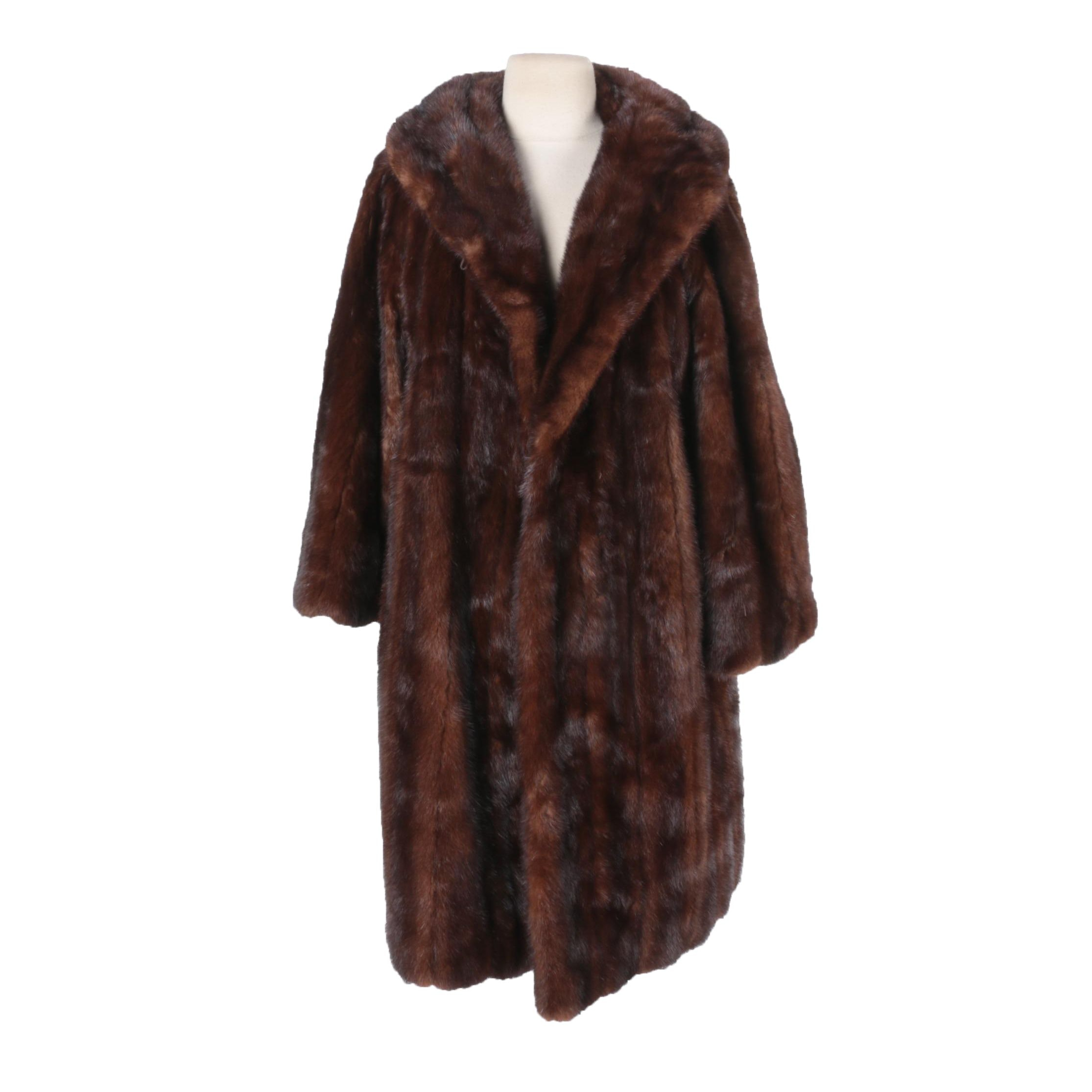 Women's Vintage Dark Mahogany Brown Mink Fur Coat