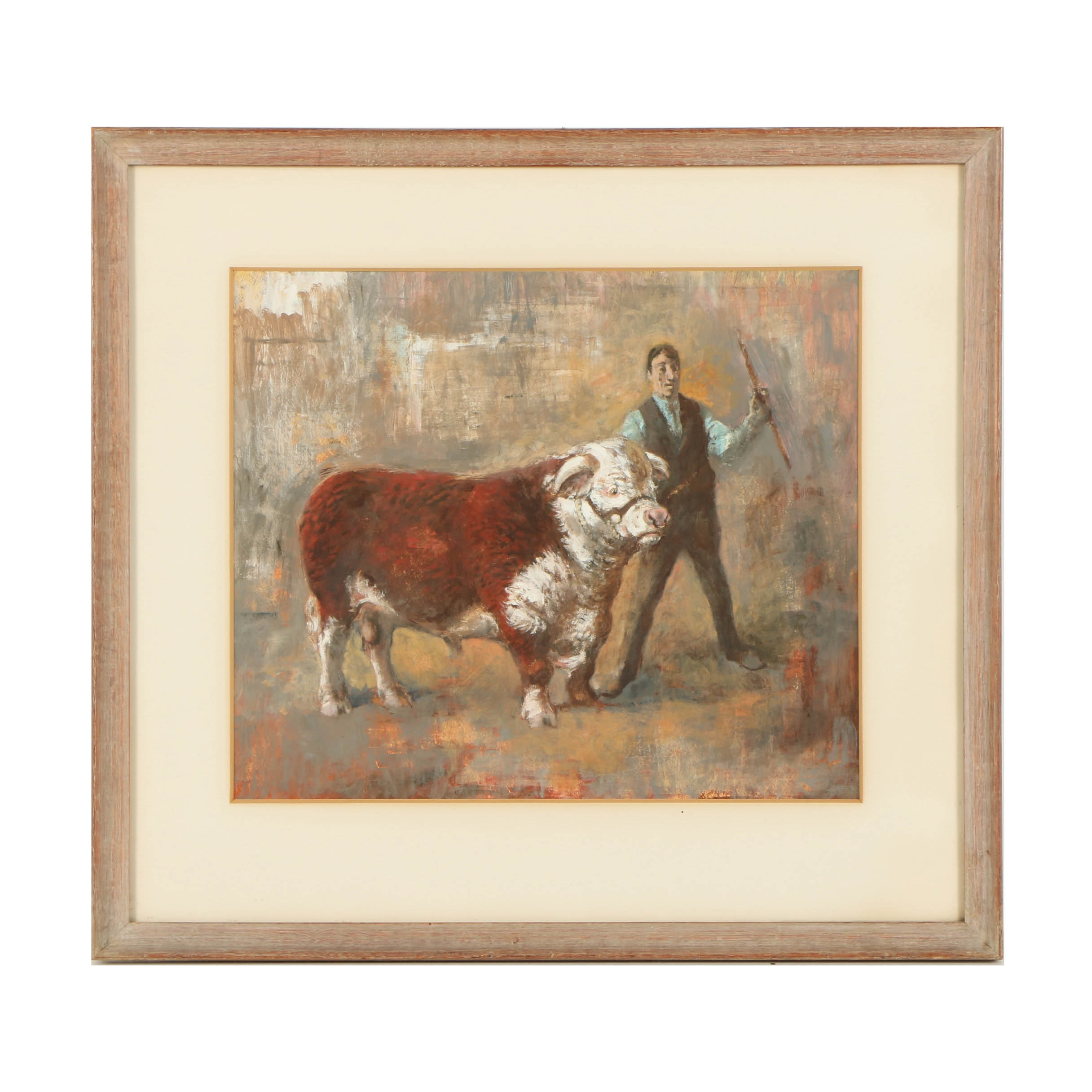 Mixed Media Painting on Paper of a Man and Cow