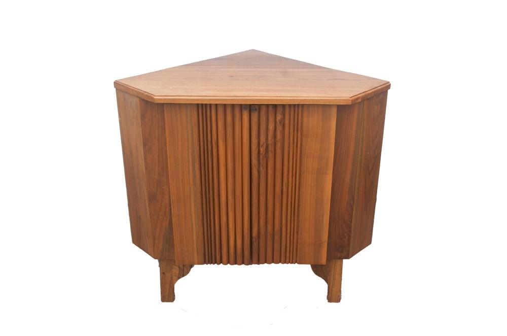 Mid Century Modern Walnut Corner Cabinet