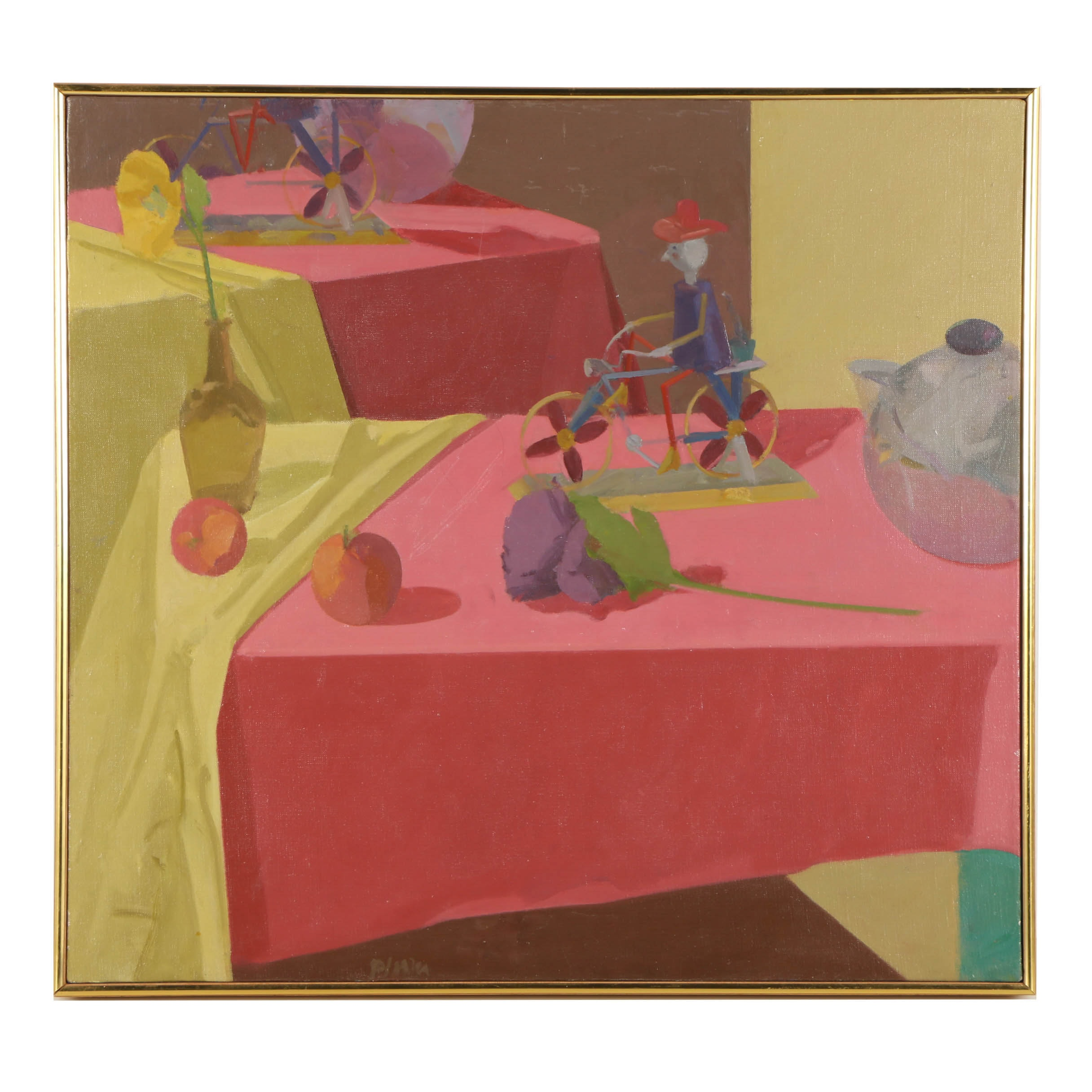 Jens Plum 2000 Oil Painting on Canvas of a  Still Life
